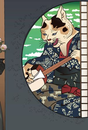 Anthropomorphic cat shamisen from the window of a Japanese house