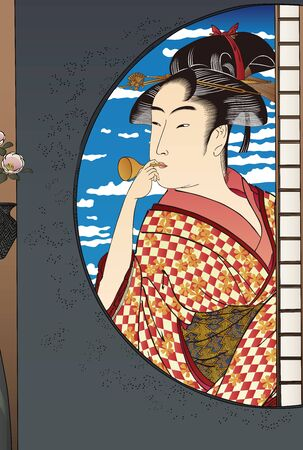 A beautiful woman in kimono seen from the window of a Japanese house Vecteurs