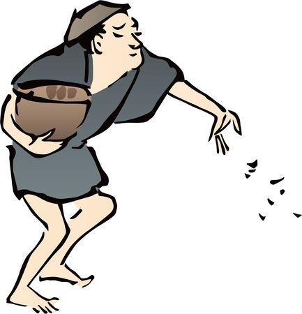 a man sowing seeds 版權商用圖片 - 138002067