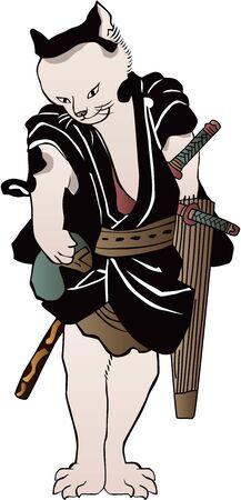 Anthropomorphic Cat Samurai