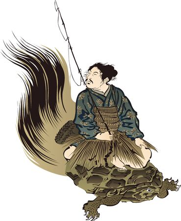 Taro Urashima riding a turtle