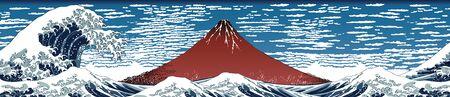 Landscape Mt. Fuji and Waves 矢量图片