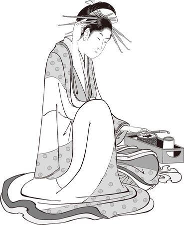 A woman enjoying Kisel 向量圖像