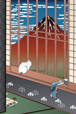 A cat looking at a mountain from the window 矢量图像