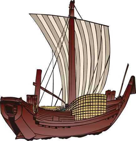Wooden ships in Japan 向量圖像