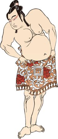 Standing Sumo Wrestler Illustration