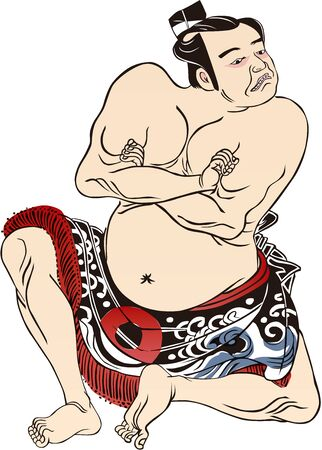 A sumo wrestler with his arms folded