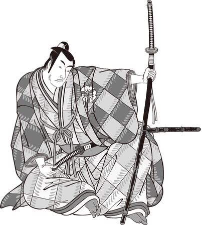 The samurai in a cool pose with a sword