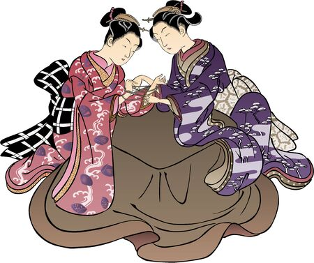 Girls who are riding in kotatsu 向量圖像