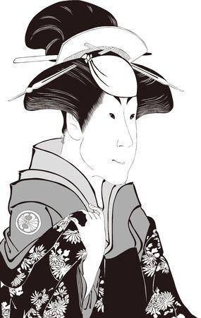 The beautiful woman of the upper body's kimono