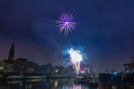 city of ghent gives its traditional annual fireworks where hundreds of people come to watch