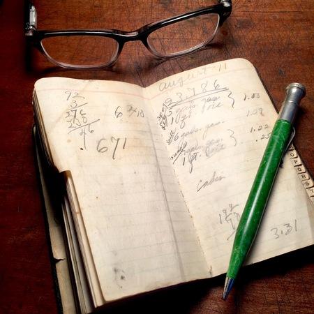 Vintage notebook with mechanical pencil and eyeglasses Reklamní fotografie