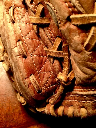 Detail of leather baseball glove