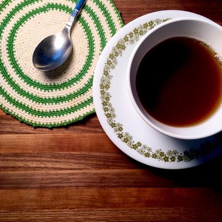 Hot tea on butcher block table