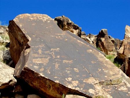 Roadside ancient petroglyphs near Moab, Utah.