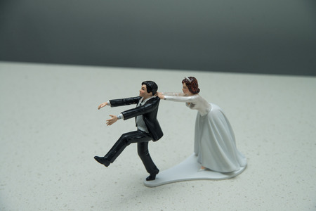 topper: cake topper of bride holding groom from running away