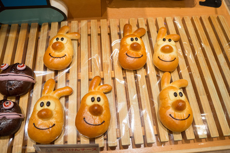 Baked goods of cartoon characters at the Anpanman Museum Editorial