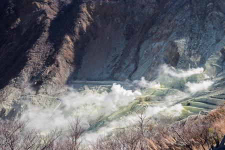 Smoke coming out of Mout Hakone at Owakudani
