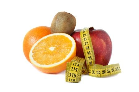 Diet concept  kiwi, red aple and oranges  Stock Photo