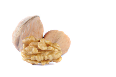 walnuts isolated on white bacground Stock Photo
