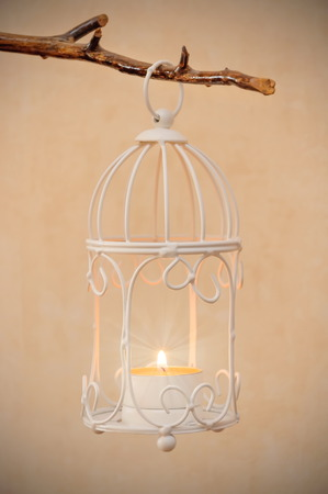 decorative bird cage hanging on branch with burning candle inside Stock Photo