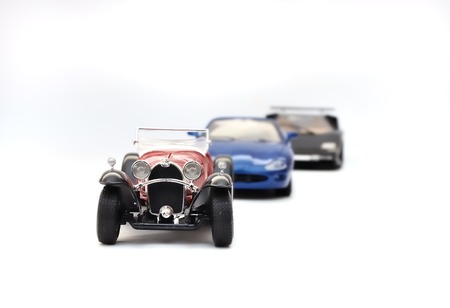 Cars, toy model on white background stock photo