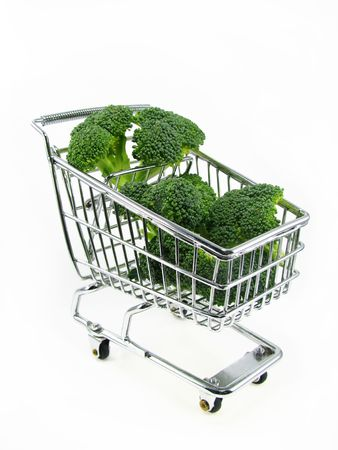 Broccoli pieces in chrome shopping cart