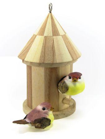 Miniaturowe Birdhouse z dwa ptaki