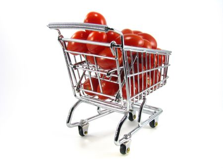 Cherry Tomatoes in Chrome Shopping Cart Isolated on White Background