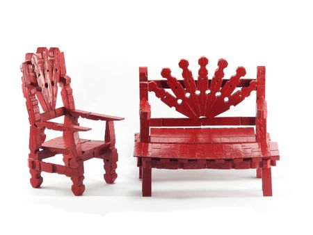 Red clothespin zabawka funiture wyizolowanych na białym tle Zdjęcie Seryjne