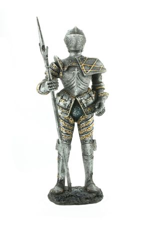Knight in armour with spear isolated on white background