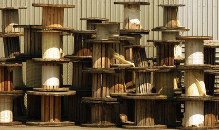 Kolekcja zniszczyć drewniane wodne szpulkach
