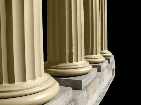 Close-up view of antique building columns