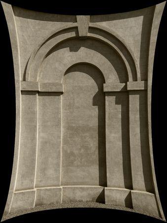 distort: Distorted arched stone doorway detail Stock Photo