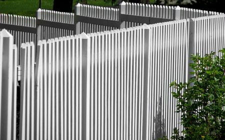 White picket fence with shrub Stock Photo