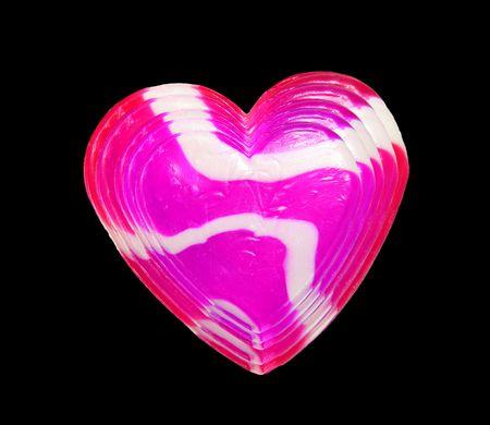 Warstwy kandyzowanego serca odizolowane na czarnym tle Zdjęcie Seryjne