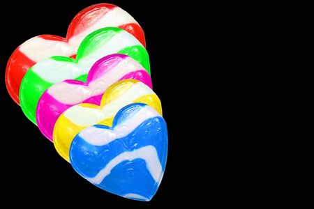 Neon Candy Hearts isolated on white background photo