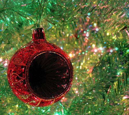 blank center: Red Christmas ornament with blank center for text