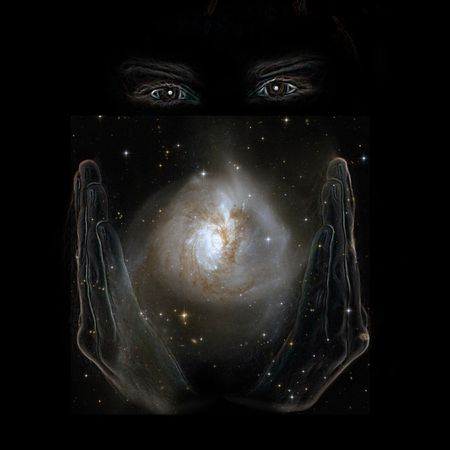 Hands of God holding Nasa image of nebula in black space Stock Photo