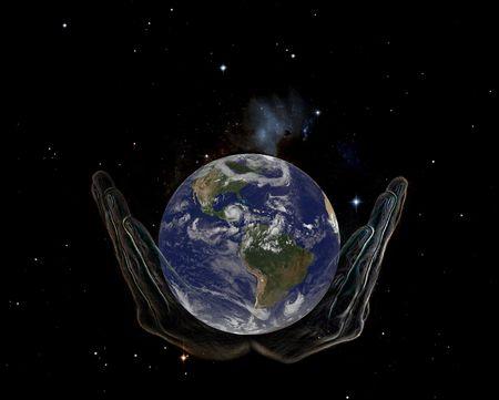 Ręce Boga, posiadających Stock obrazu ziemi w przestrzeni