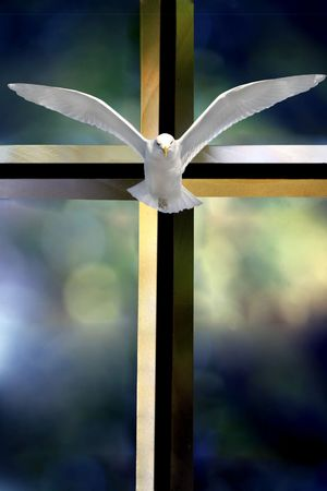 Beveled glass cross Holy Spirit bird and colorful blurred background