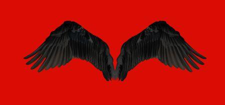 Czarne skrzydła izolowanych na czerwonym tle Zdjęcie Seryjne