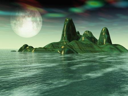 Illustration of green alien sea and island