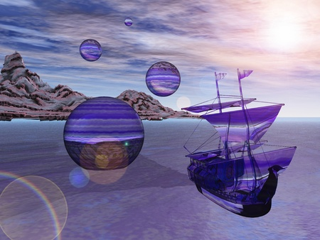 Abstract illustration of alien landing party with glass ships