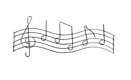 Grunge musical notes isolated on a white background
