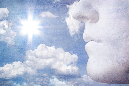 Illustration of white stone profile with sunny sky in grunge style