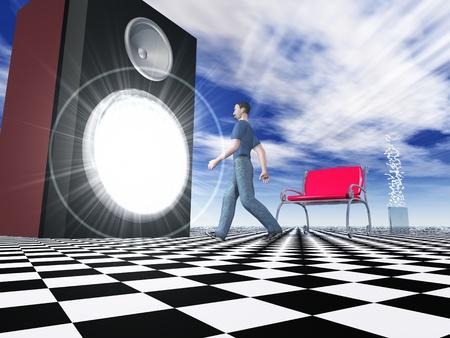 3D rendering of a man walking into a giant speaker