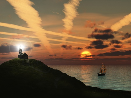 Ship sailing into the sunset from a shore with a lighthouse