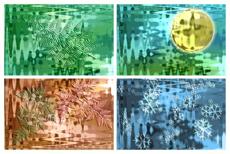 Background collage showing four seasons that can be used separately Stock Photo
