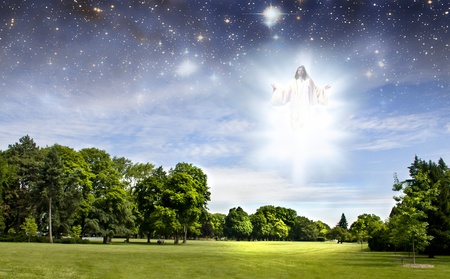 Second coming of Jesus over a summer park photo